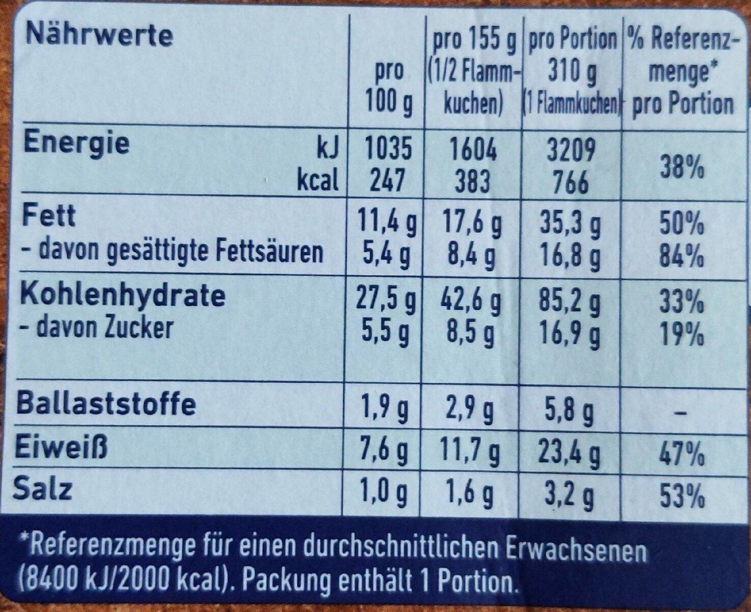 Steinofen Flammkuchen - Informations nutritionnelles - en