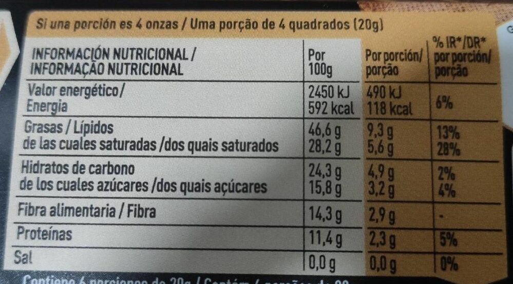 Nestle Dark 85 % cacao - Nutrition facts - es