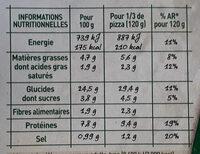 BUITONI FOUR A PIERRE Pizza Chèvre Légumes - Informations nutritionnelles - fr