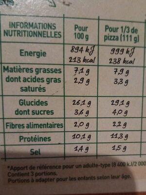 BUITONI FOUR A PIERRE Pizza Régina - Informations nutritionnelles - fr