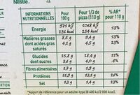 BUITONI FOUR A PIERRE Pizza 4 Fromages - Informations nutritionnelles - fr
