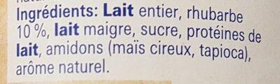 Hirz Yogourt rhubarbe de Lucerne - Ingrédients