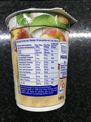 Hirz Yogourt Pommes Thurgoviennes et Kiwis Vaudois Nestlé - Informations nutritionnelles