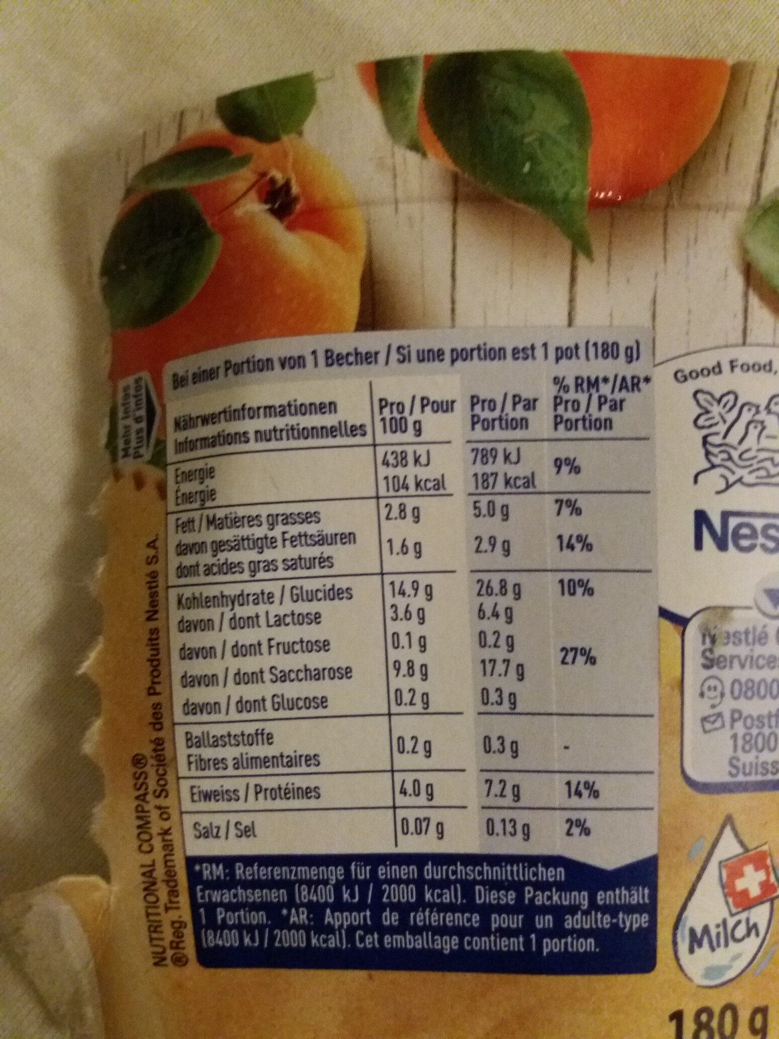Joghurt mit Walliser Aprikosen - Nutrition facts - fr