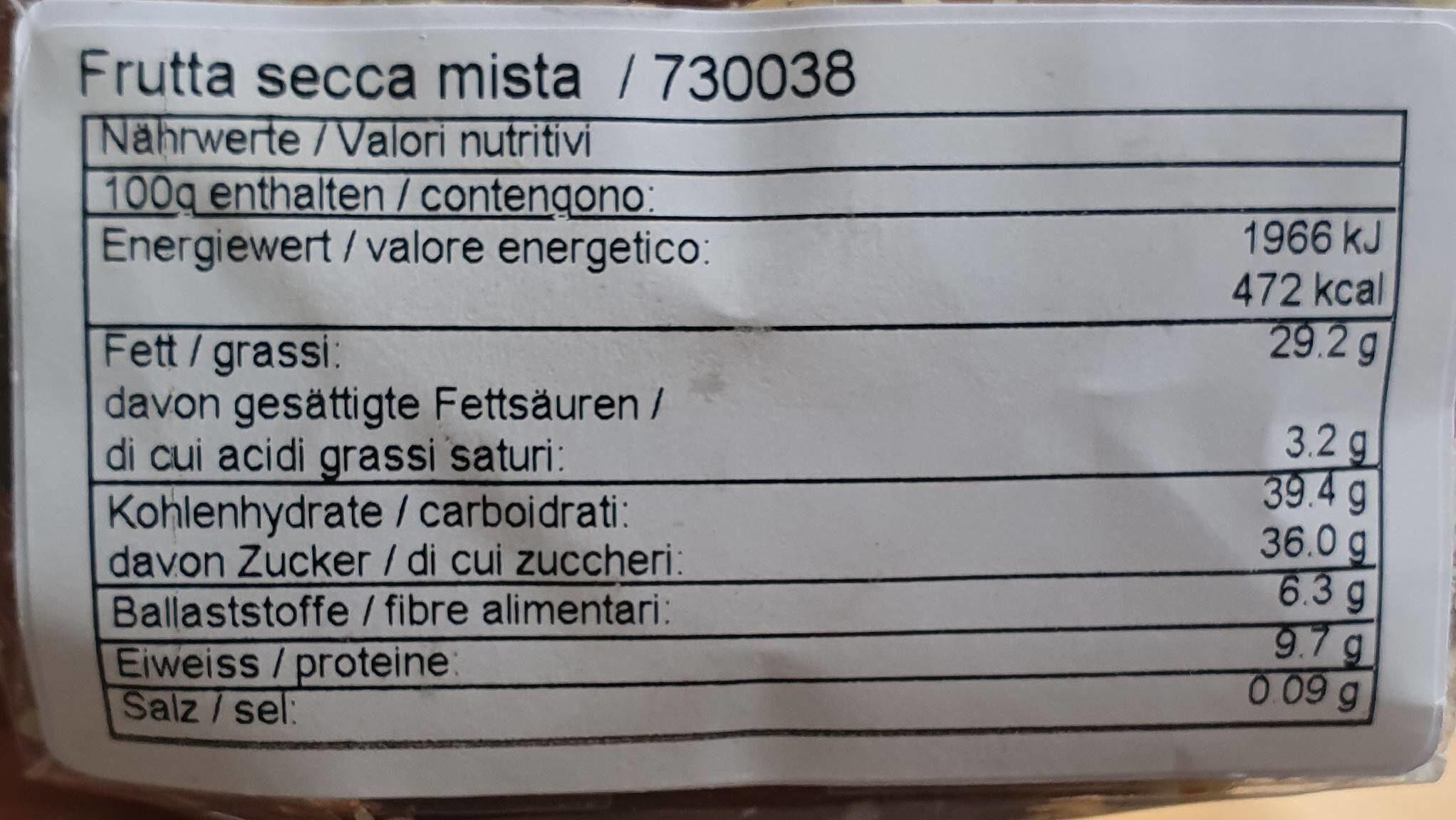Mélange randonnée - Informations nutritionnelles - fr