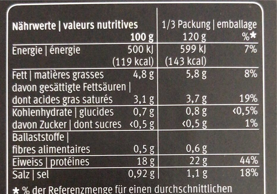 Fillet de dos de cabillaud - Voedingswaarden - fr