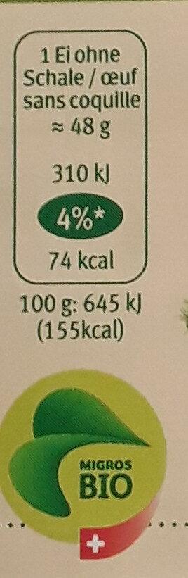 Schweizer Bio-Eier freiland - Nutrition facts - de