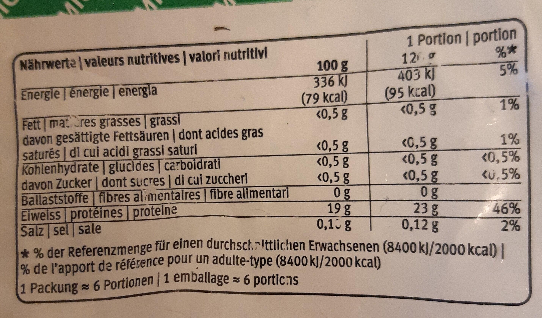 Filets de queue de lieu noir - Informations nutritionnelles - fr
