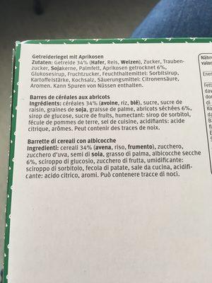 M-budget Bastoncini Di Cereali Albicocca - Ingredients