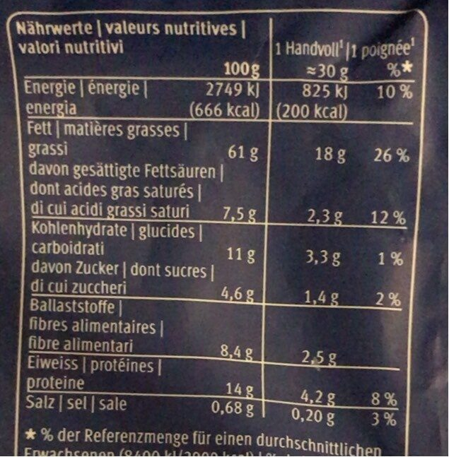 Nussmischung - Informations nutritionnelles - de