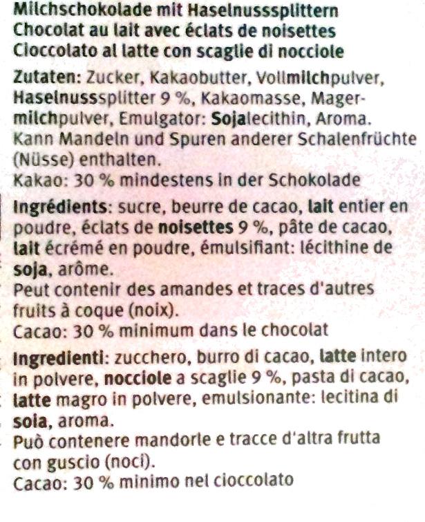 Chocolat au lait aux éclats de noisettes - Ingredients - fr