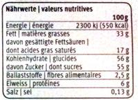 Chocolat au lait aux éclats de noisettes - Nutrition facts - fr