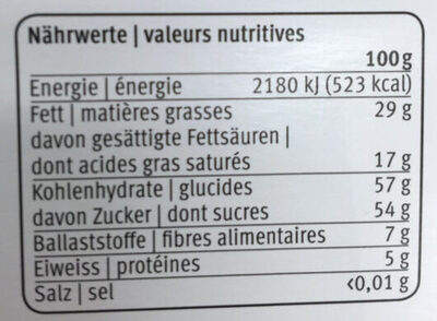 Chocolat noir - Informazioni nutrizionali - it