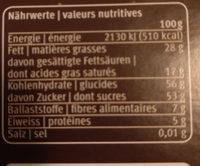 Chocolat de ménage - Nutrition facts