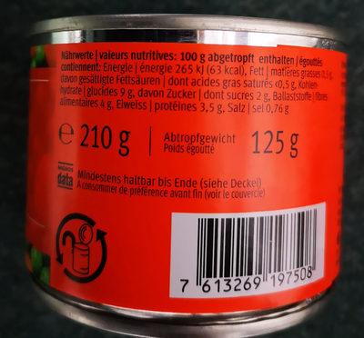 Petits pois et carottes - Informations nutritionnelles