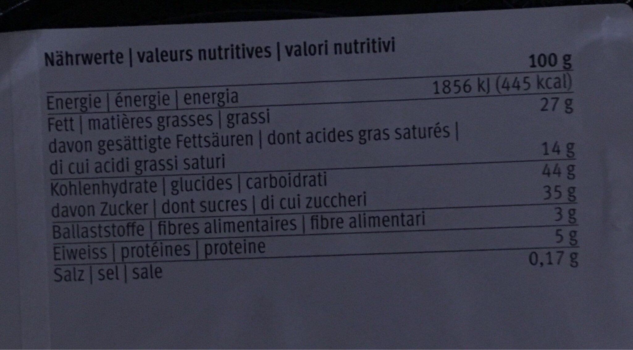 Tourte truffes - Voedigswaarden