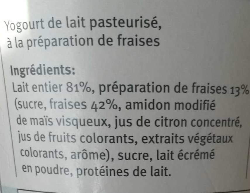 Yogourt fraise - Ingredients - fr
