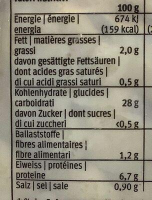 Spätzli, aux œufs - Nutrition facts