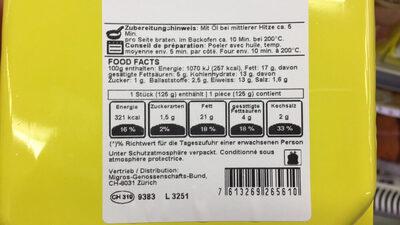 Poulet avec fromage et jambon - Nutrition facts