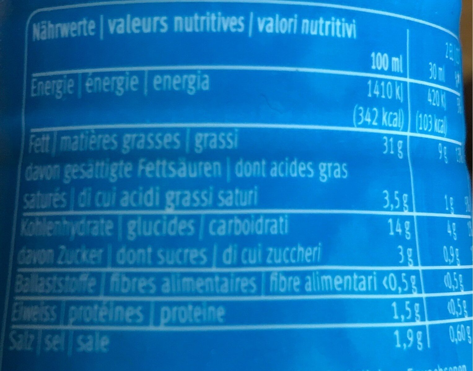 French Dressing - Nutrition facts - fr