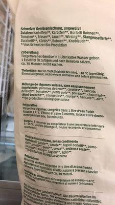 Minestrone melange de legumes suisse - Ingrédients