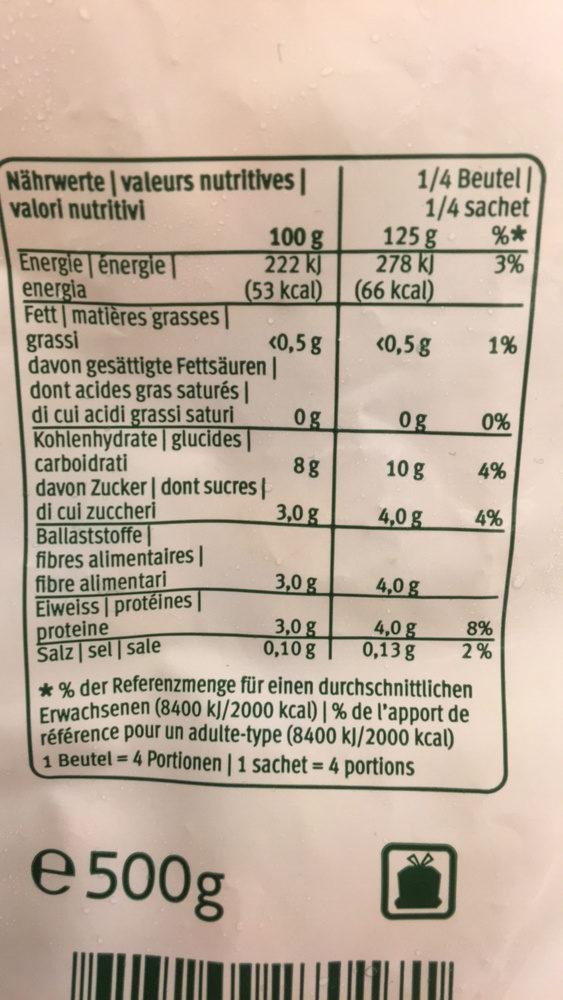 Minestrone melange de legumes suisse - Informations nutritionnelles
