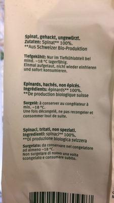 Epinards Suisses hachés - Ingrédients