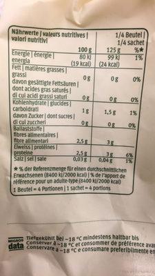 Epinards Suisses hachés - Informations nutritionnelles