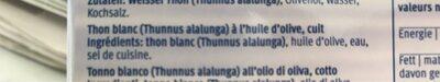 Thonfilets In Olivenöl - Ingrédients - fr