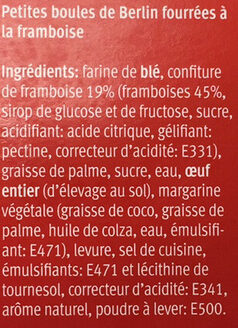 Mini Berliner fourrées à la framboise - Ingredients - fr