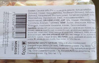 Salade de cervelas et fromage - Voedingswaarden - fr