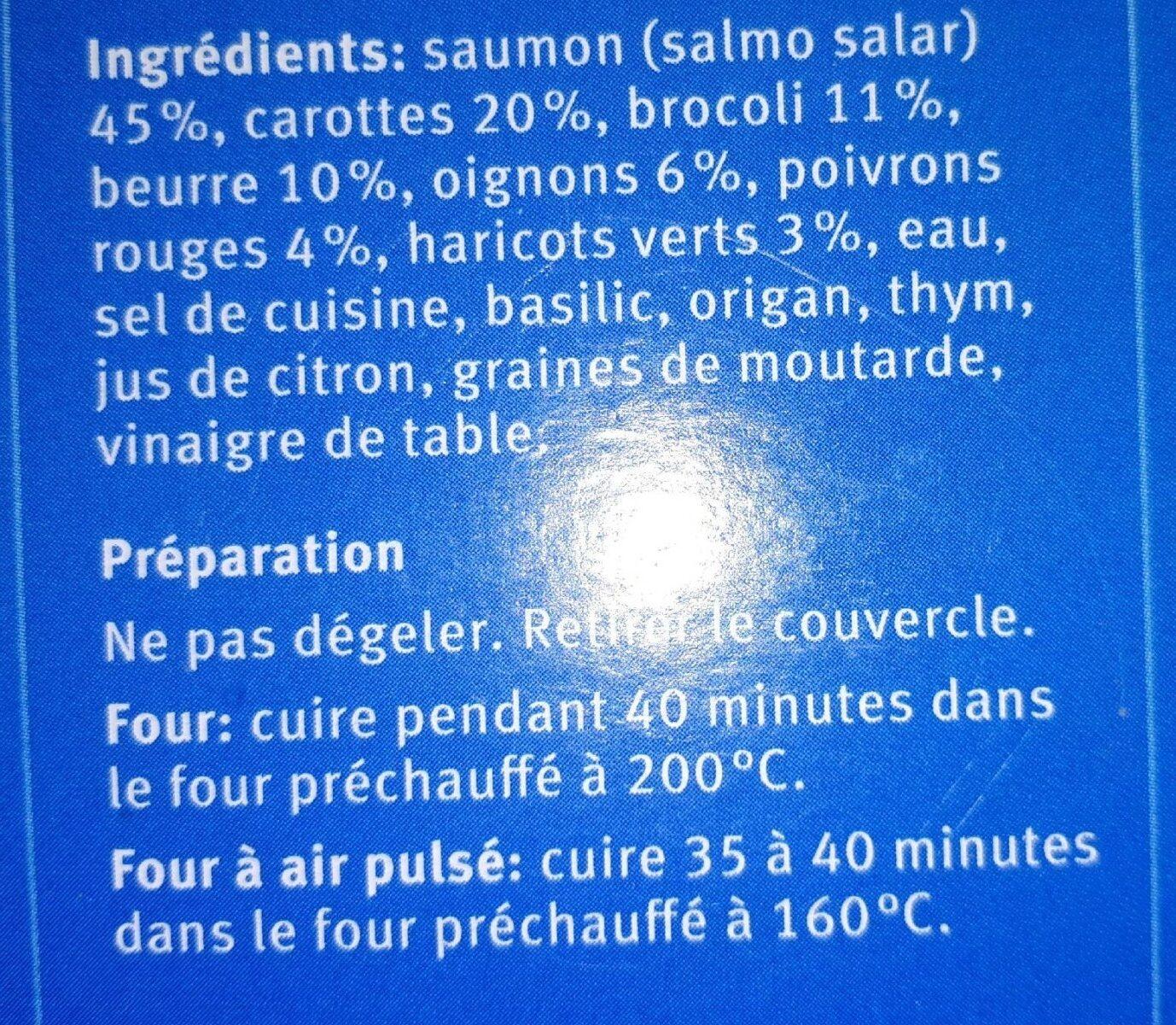 Filet de saumon avec beurre aux herbes et légumes - Ingredients