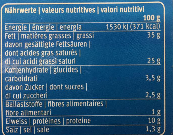 Escargots à la bourguignonne - Informations nutritionnelles