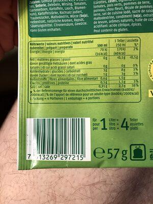 Potage de jardinière de légumes - Nutrition facts - fr