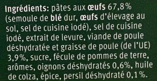 Nouilles au Poulet - Ingredients