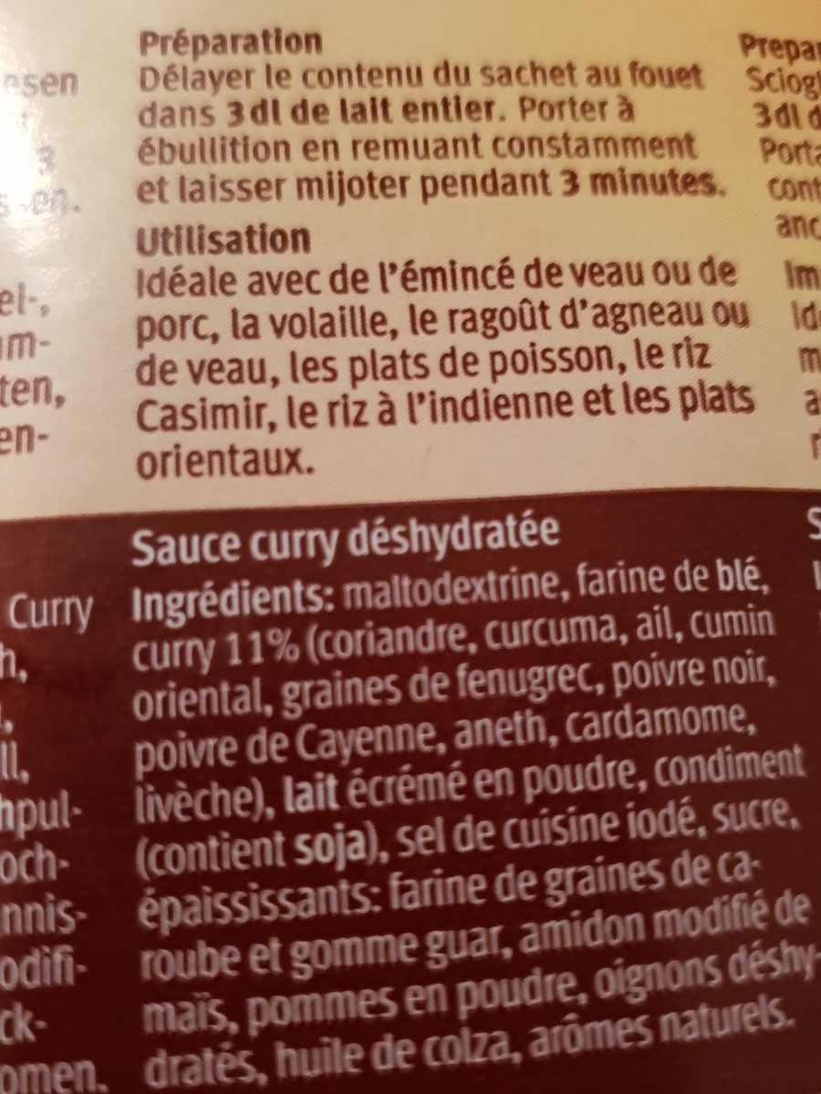Sauce curry - Ingredients