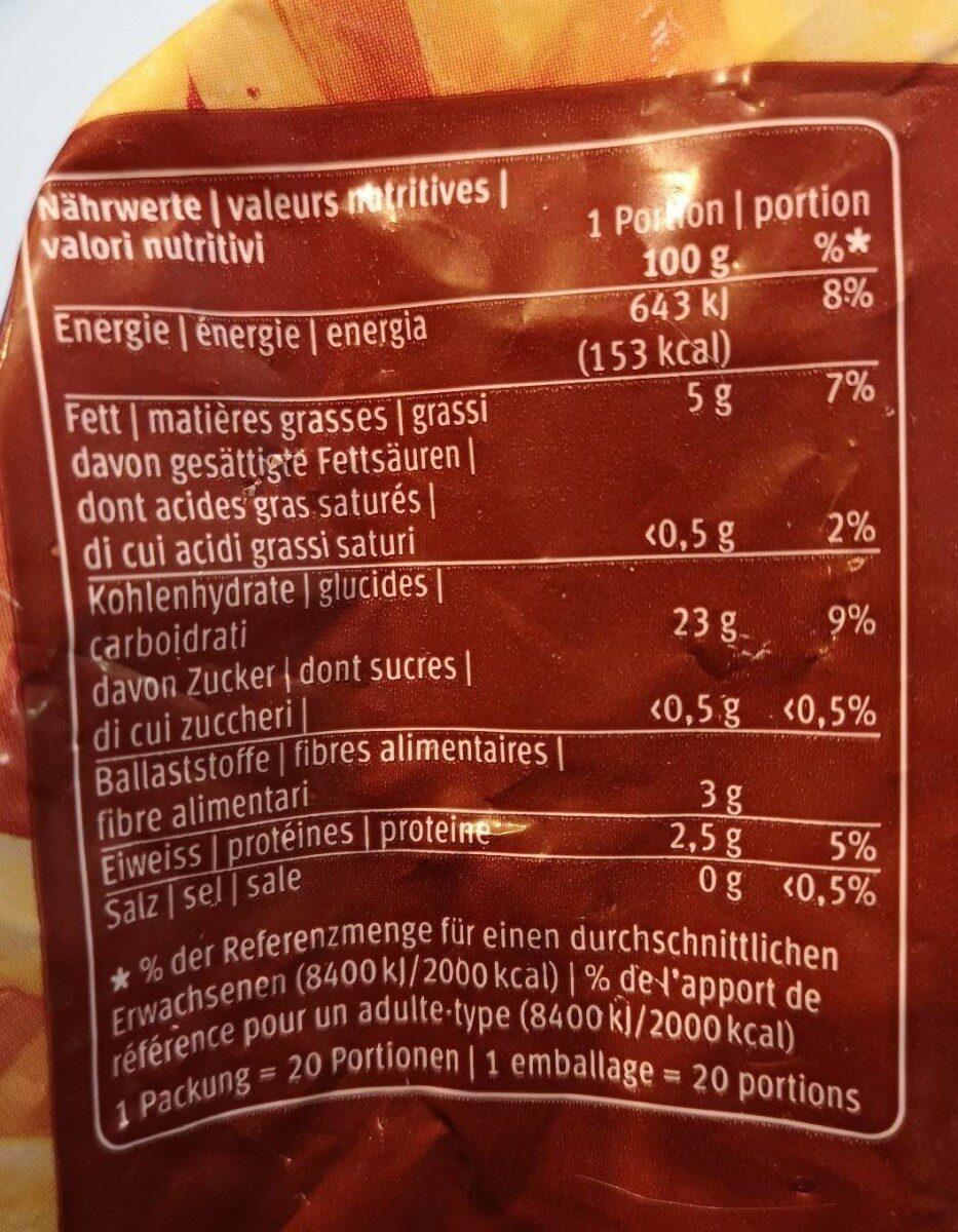 Frites au four - Valori nutrizionali - fr
