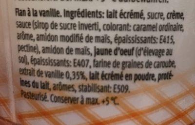 Flan vanille sauce caramel - Ingredients - fr