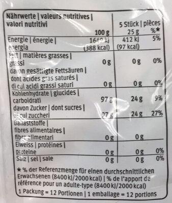 Bonbons durs aux arômes de framboise, orange et citron - Informations nutritionnelles - fr
