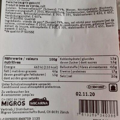 Toast garniture jambon - Valori nutrizionali - fr