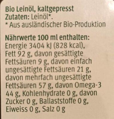 Leinöl kaltgepresst - Nutrition facts - de