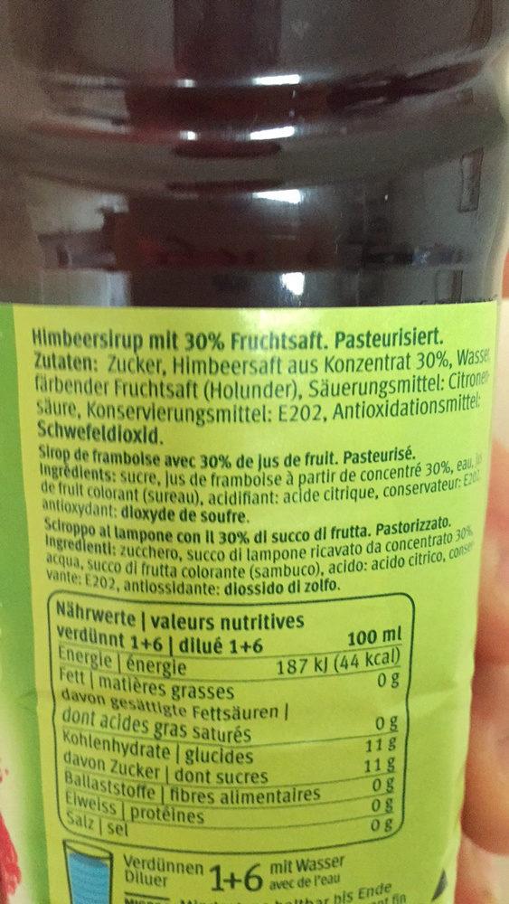 Sirop de framboise avec 30% de jus de fruit, pasteurisé - Ingredients - fr