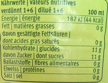 Sirop de framboise avec 30% de jus de fruit, pasteurisé - Nutrition facts - fr