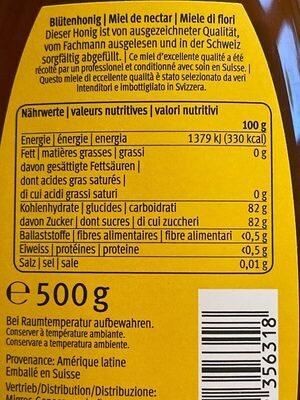 Honig: Blütenhonig in Flasche - Nährwertangaben - fr