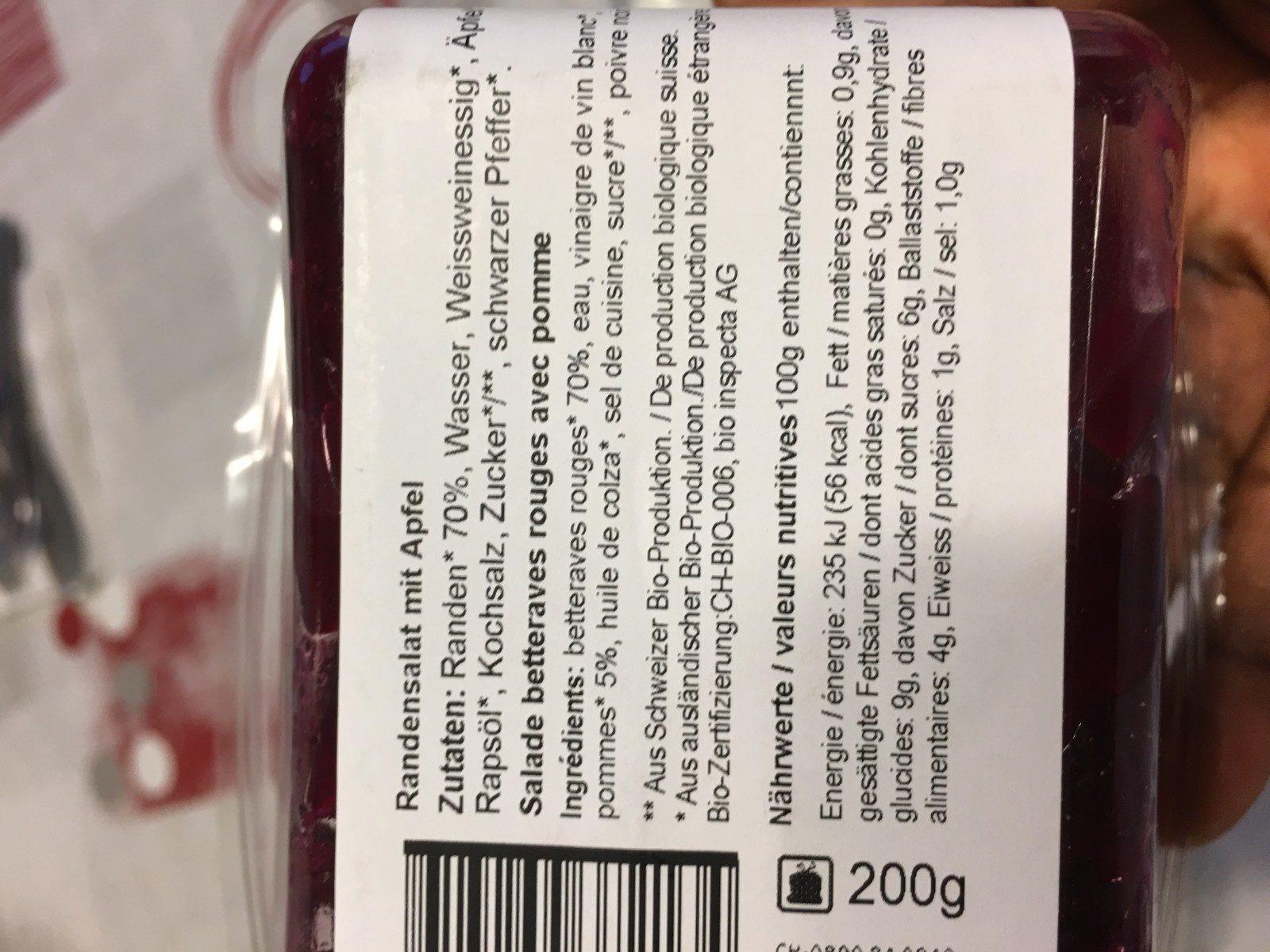 Bio Randensalat - Ingredients - fr