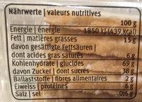 Biscuit en pâte brisée avec préparation multifruits - Informations nutritionnelles - fr