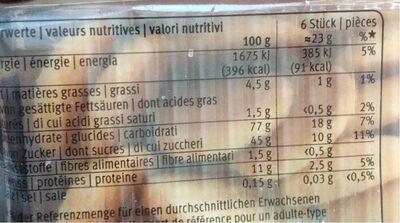 Löffel Biscuits 140G - Informations nutritionnelles - fr