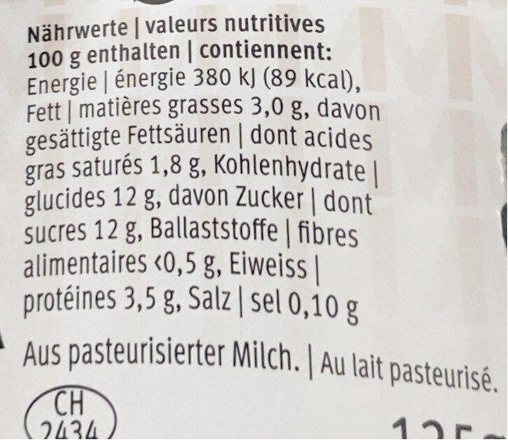 Yogurt Moca - Valori nutrizionali - fr
