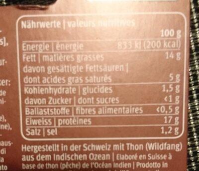 Pâte à tartiner au thon et au fromage frais - Nutrition facts