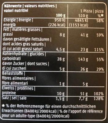 La Pizza al prosciutto cotto e mascarpone - Informazioni nutrizionali - fr